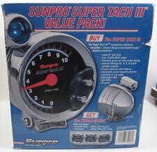 Sunpro Value Pack Triple Black Face Gauge Set Amp 5 Sunpro 3 Tachometer New