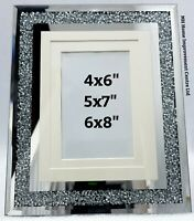 Sparkly Silver Crystal Picture Frame Collage 7 Photo Mirrored Wall Hung Glitz
