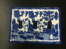 Blue Willow Pattern Porcelain Triple/3 Toggle Light Switch Cover/Plate