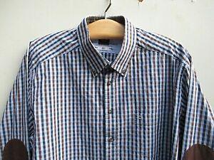 Olymp Novum super Herrenhemd, Gr. XXL, blau/braun, kariert, Ellebogenverstärkung