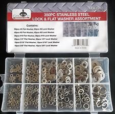 350pc GOLIATH INDUSTRIAL STAINLESS STEEL LOCK & FLAT WASHER ASSORTMENT NUTS BOLT
