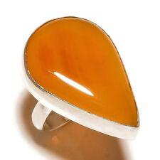 Yellow Botswana Agate Pear Gemstone silver plated Handmade Statement Ring US-7