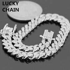 7''925 Sterling Silver Bling Out Lab Diamond  00006000 Cuban Bracelet 6mm 20g