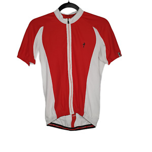 Specialized Womens Cycling Jersey Red White Full Zip Back Pockets Size Small