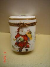 Vintage French Limoges Oval Porcelain Christmas Santa Claus Box- Reindeer Clasp