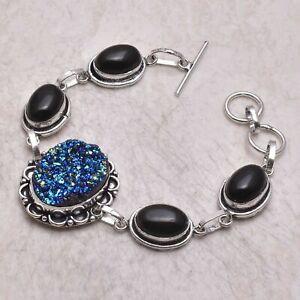 Titanium Druzy Black Onyx Ethnic Gift Jewelry Handmade Bracelet 23 Gms AB 53770