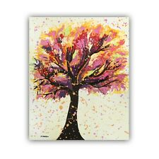 Original Fluid Art Tree Painting on Canvas Acrylic Pouring Wall Art Father's Day