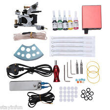 Tattoo Kit Liner Machine Gun Power Supply Needles Grips Tips UK PLUG