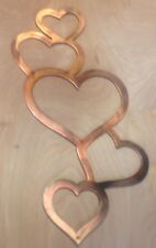 Heart Chain Wall Art Hanging in Rustic Copper Patina