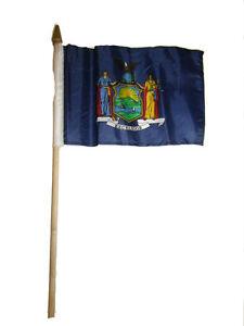 "6x9 6""x9"" State of New York Stick Flag wood Staff"
