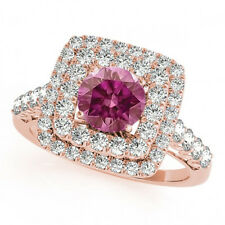 1.50 Cts Fancy Pink Diamond Solitaire Bridal Ring 14k RG Valentine Day Spl.Sale