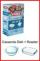 Pyrex Roaster and Casserole Dish Set 1.5 + 2.1L Borosilicate Glass Bake Oven 2PC