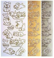 PUPPY DOG Peel Off Stickers Basket Bone Bowl Run Gold or Silver Card Making
