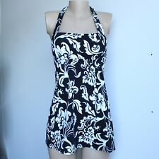 Lands' End Underwire Tankini Top Size 2 D Cup Black White Extra Long Dresskini