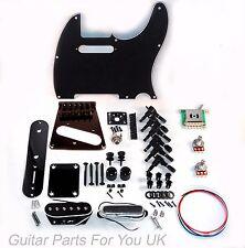 Kit de hardware Telecaster Completo Guitarra Negro 6 silla puente de bobina única Vintage