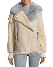 $2800 Tibi bone shearling rider jacket ribbed trim fur coat M