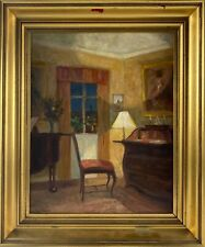 Ölbild Impressionist Jacob Meyer 1895-1971 Interieur Raum mit Antiquitäten Antik
