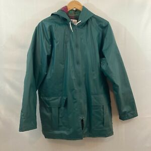 Misty Harbor Womens Teal Flannel Lined Weather Slicker Hooded Rain Coat Size M