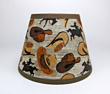 Primitive Cowboy Hat  Bronco Horse Print Fabric Lampshade Lamp Shade