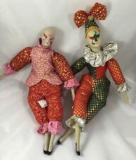 """Sugar Loaf Creations Porcelain Jester Clown Harlequin Dolls Set of 2 15"""" & 18"""""""