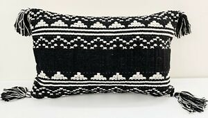 Boho Throw Pillow Covers for Couch Sofa, 12x 20 Inch Cotton Hand-Woven tassels