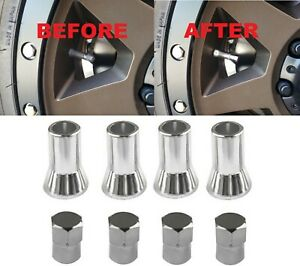 UNIVERSAL TPMS Tire Rubber Valve Stem Chrome Dress Up Kit Sleeve Covers Caps 414