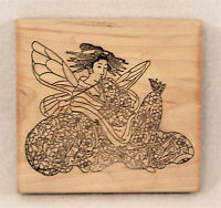 ASIAN ORIENTAL JAPANESE Woman Geisha With Wings Large Wood Mounted Rubber Stamp