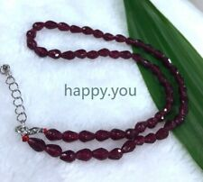 4x6mm faceted red garnet teardrop beaded necklace 18""