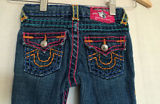 True Religion Girls Jeans Sz 4 Julie Super T Rainbow Stitching Straight Leg