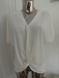 LADIES IVORY KNOT FRONT LOOSE FIT BLOUSE TOP SIZE 10 LADIES MAY FIT 12