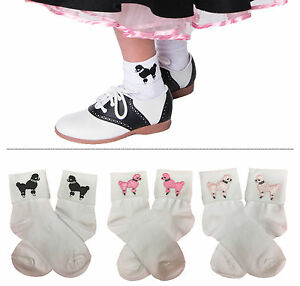 Hip Hop 50s Shop Girls Bobby Socks with Poodle Applique Child Halloween Costume
