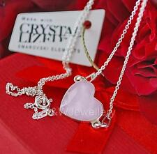 STERLING SILVER * CHAIN NECKLACE WITH SWAROVSKI Elements HEART POWDER PINK 14mm