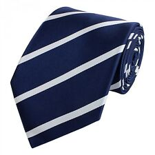 Edel glänzend Business Krawatte 8cm dunkelblau glatt Fabio Farini weiß gestreift