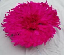 15' Dim Juju-Hat Feather Bamileke/Cameroon African Art_ PINK