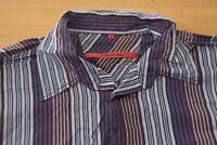 Q317 Signum Red Hemd - Größe L - gestreift blau orange rot - Herren Langarm