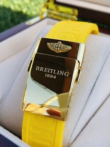 Custom Breitling Yellow Rubber Band With 24k Gold Plated Buckle For Apple Watch