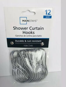 Mainstays 7316105392 Wire Chrome Shower Hooks - 12 Pieces New In Package