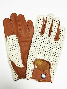 Ladies Mens Retro Classic Driving Gloves Genuine Leather Brown Tan Top Quality