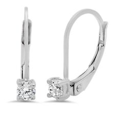 Dangle Earring Solid 14k White Gold 0.5ct Round Brilliant Cut Leverback Drop