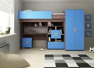 Hochbett Schonberg in turkisblau Kinderbett Etagenbett Kinderzimmer 90x200