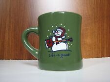 Life is good Snowman mug green Christmas shovel guitar winter music Collectible