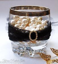 24 OVAL Gold Wedding Diamante Rhinestone Invite Buckles