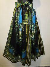 Skirt Fits M L XL 1X Plus Maxi African Wax Print Ankara Black Turquoise NWT G317