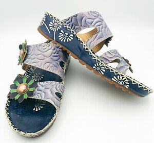 L'Artiste Spring Step Flat Wedge Sandal FRAY Blue Embossed Leather Floral 9 / 40