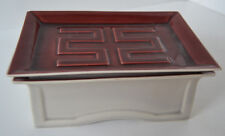 Vtg  Japanese Asian Jewelry Pottey Glazed Cigarette Box Trinket Red Gray