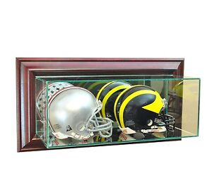 Wall Mounted Glass Double Mini Helmet Display Case Cherry Molding Free Shipping