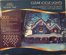 Set of 300 Shimmering Clear Mini Icicle Christmas Lights - White Wire new NIB