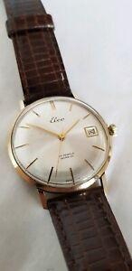 14ct Yellow Gold Gentleman's wrist watch.ELCO Incabloc Swiss made. 17 jewels