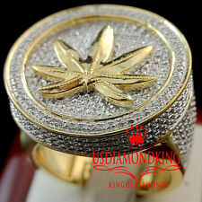 Mens Real Diamond Weed Marijuana Leaf Plant Big Pinky Ring Band 10K Gold Finish