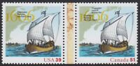 USA - CANADA = 2006 Joint Issue Se-Tenant Pair =400th Settlement= Champlain Ship